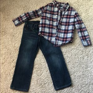 Other - Boys jean and button up shirt set